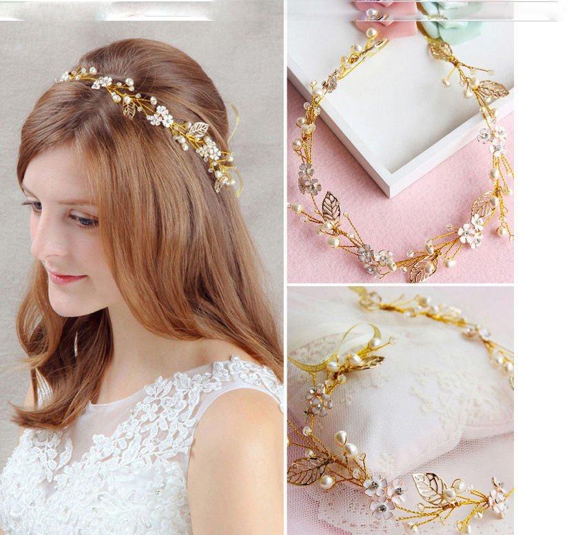 Leaf Pearl Crystal Gold Tiara Bridal Vintage Flower Headpiece Wedding Hair Piece