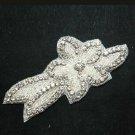 Rhinestone Crystal Wedding Flower Leaf Leaves Silver Hair Clip Headpiece