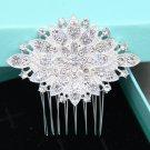 Bridal Clear Rhinestone Crystal Silver Tone Vintage Wedding Hair Comb