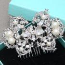Bridal Rhinestone Comb Wedding Vintage Pearl Hair Comb Crystal Headpiece