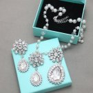 Rhinestone Crystal Snowflake Pearl Necklace Earrings Wedding Jewelry Set