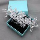 Wedding Crystal Rhinestone Flower Leaf Pearl Hair Comb Headpiece