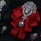Crystal Rhinestone Dangle Pendant Men Pre Tied Ribbon Tie Wedding Bow Neck Tie