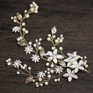 Flower Leaf Pearl Crystal Rhinestone Wedding Gold Tiara Headpiece