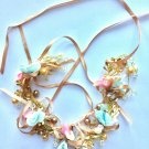 Wedding Hair Piece Light Blue & Pink Bow Flower Crystal Tiara Pearl Headpiece