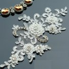 A Pair Off White Crystal Flower Floral Embroidered Lace Wedding Applique
