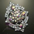 Vintage Style Rhinestone Crystal Aurora Clear Wedding Brooch Pin Jewelry