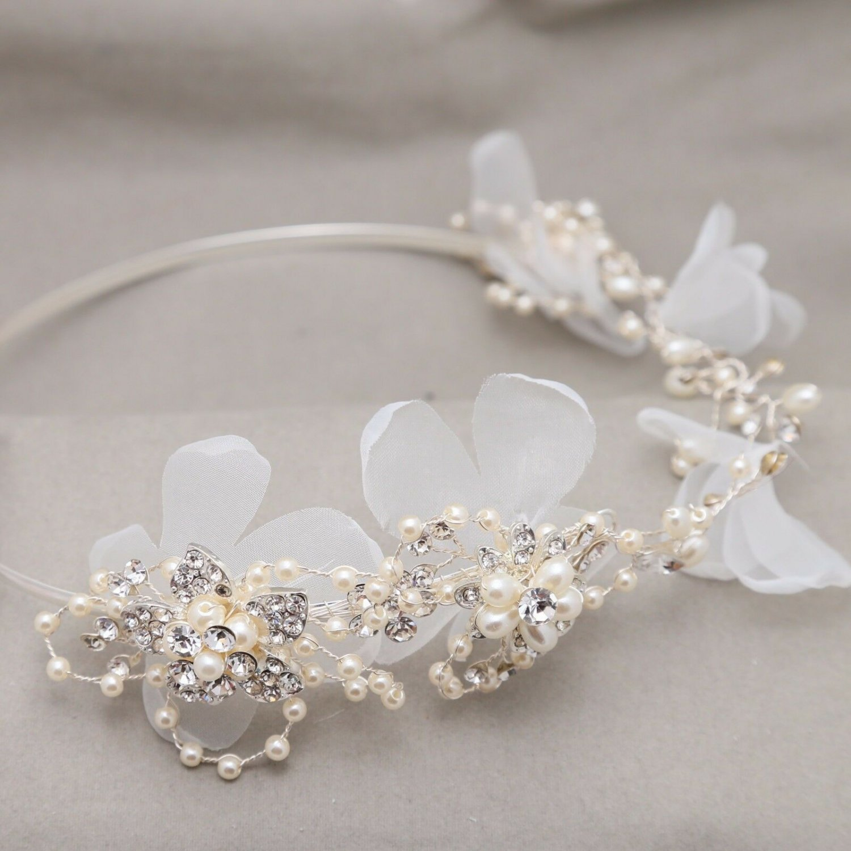 Handmade Wedding Crown White Flowers Off White Pearl Bridal Ring Tiara