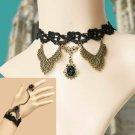Wedding Fashion Copper Vintage Black Lace Necklace and Bracelet