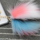 Rainbow Color Fur Pom Pom Keychain Key Chain Bag Ornament Tassel Keyring