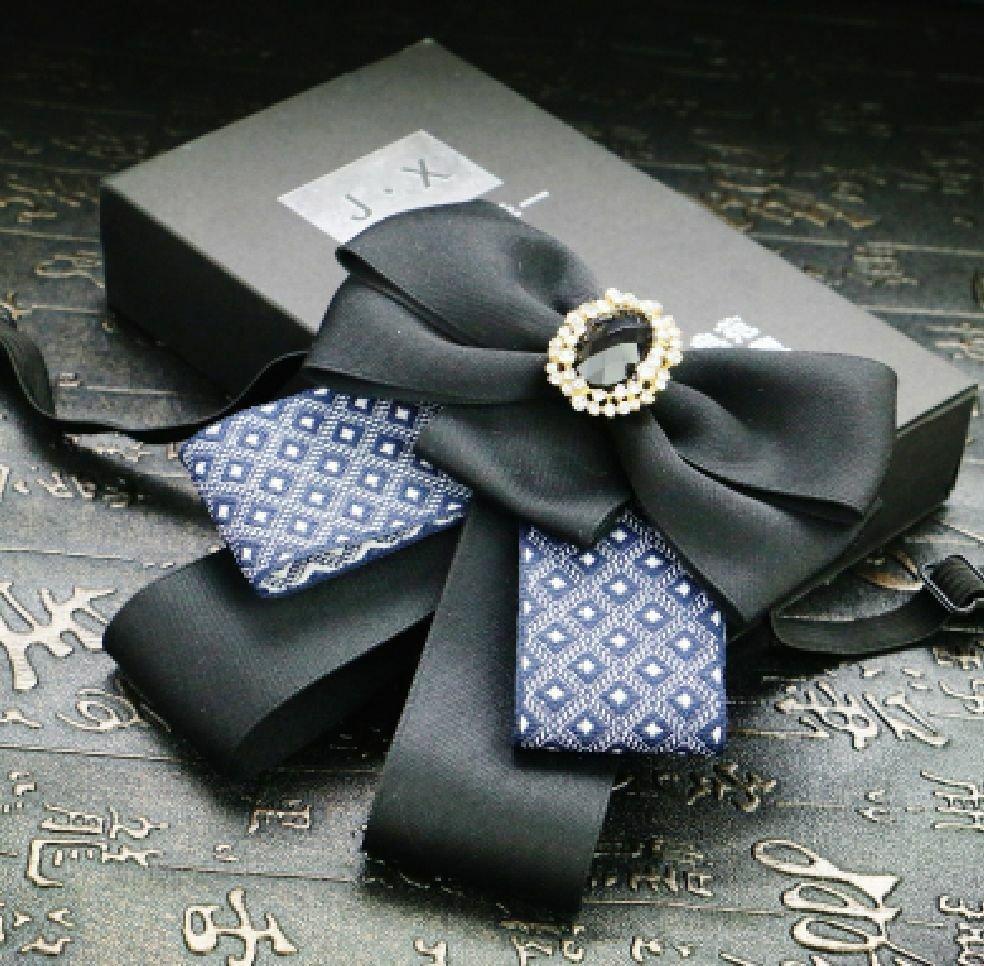 Vintage Style Black Blue Wedding Men Mens Adjustable Bow Tie Brooch Clip
