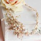 Bridal Rhinestone Crystal Leaf Gold Flower Pearl Hair Headband Wedding Tiara