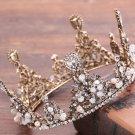 Crystal Flower Beads Old Gold Tiara Headpiece Hair Crown Wedding Hair Jewelry