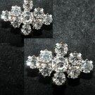 2 Pieces Mini Rhinestone Crystal Silver Tone Rhombus Alloy Wedding Brooch Pin