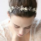 Silver Leaf Wedding Vine Crystal Ivory Pearl Flower Tiara Headpiece Hair Jewelry