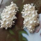 2 Pcs Wedding / Special Events Ivory Pearl Crystal Silver Shoe Clips