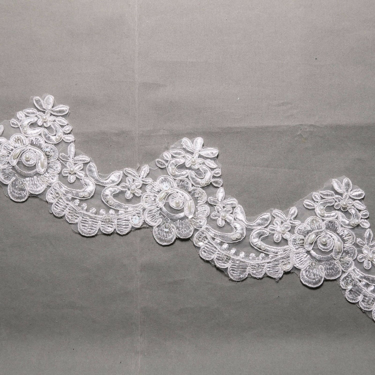 Off White Embroidered Wedding Lace Beaded Pearl Sequin Veil Trim Per Yard