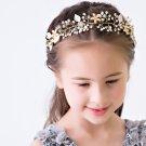 Gold Tone Faux Pearl Flower Wedding Girl Bride Crystal Rhinestone Tiara