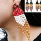 Handmade Beaded Colored Beads Bohemian Tassel Earrings