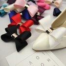 2 Pcs Simple Fashion Color Black White Red Blue Bow Shoe Clips Pair