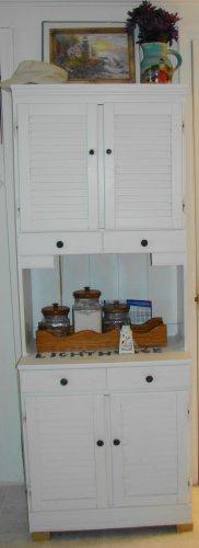 White Tall Kitchen storage cabinet with hutch