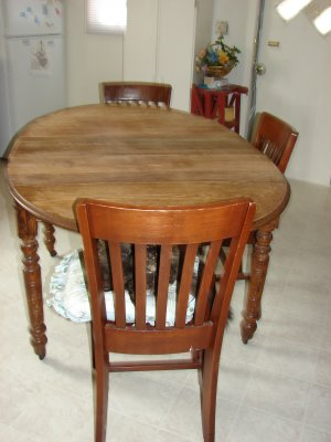 Vintage Table w/modern chairs