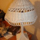 Vintage white wicker lamp