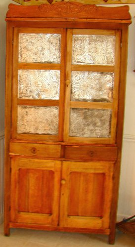 Antique Pie Safe with punched tin doors & side panels