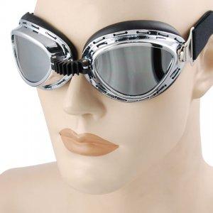 Motorcycle Chrome UV Lenses Goggles RAF Pilot Skydiving Ski Snowboard ATV Tank Eye Protective Gear