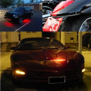 """Knight Rider Flashing Scanning Bar 48 SMD RGB LED Strip Light 22"""" w/ RC For Grille Spoiler Glove Box"""