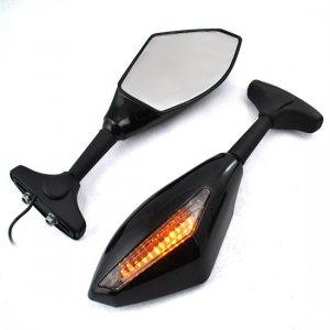 Amber LED Turn Signal Lights Blinker Indicator Side Marker Integrated Black Side Rear View Mirrors