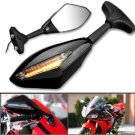 Amber LED Signal Light Black Side Rearview LR Mirrors For Yamaha YZF 600 750 1000 R1 R6 R7 Free Ship