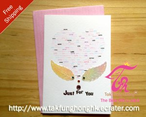 Just For You Angel heart mini 3D birthday gift card & envelope - Free Shipping