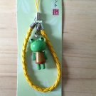 adorable cute wood phone pouch zipper keychain  yellow green frog wooden key ring key chain tfh