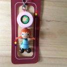 adorable cute wood phone pouch zipper keychain  fairy tale doll happy doll wooden key ring key chain