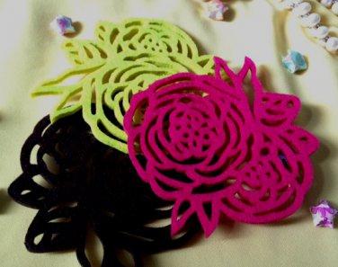 Set 4 coasters handmade eco friendly natural red green black rose felt coaster Tak Fung Hong Hk