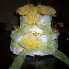 2 TIER YELLOW AND GREEN CAKE