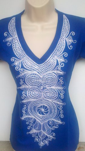 Blue Embroidery T-Shirt