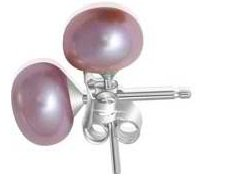Pink Pearl Stud Earrings in Sterling Silver