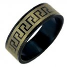 Stainless Steel Men's Ring in Gold-tone and Black