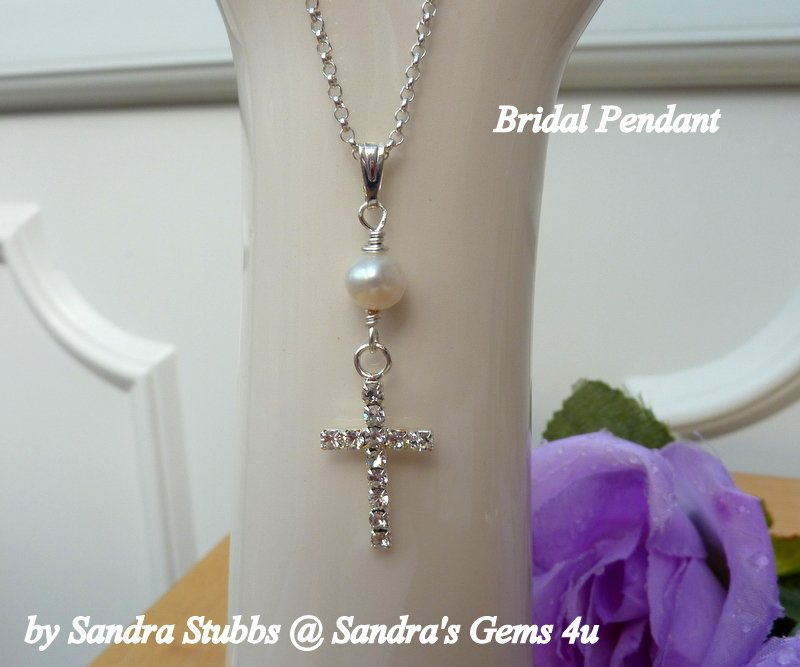 Bridal Jewellery, Pendant, Rhinestone Cross with Pearl, Wedding Necklace,  Sterling Silver chain