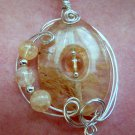Citrine Pendant, wire-sculpted, Sterling Silver chain, gift boxed