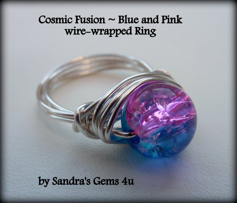 Pink and Blue Crackle Glass Ring, wire wrapped, Silver