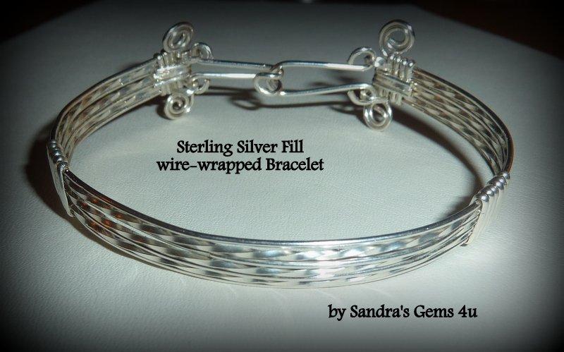 Silver Bracelet, Bangle, wire wrapped