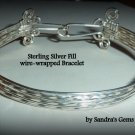 Silver Bracelet, Bangle, wire wrapped