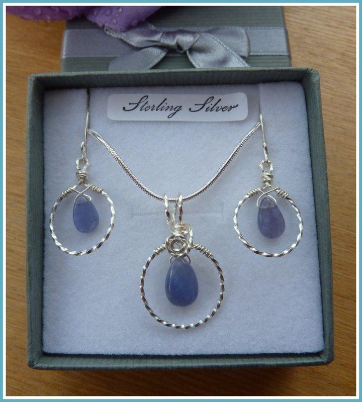 Tanzanite Set, Hoop, Pendant and Earrings, Sterling Silver, December birthstone