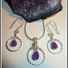 Amethyst Set, Pendant and Earrings, Hoop, Sterling Silver, February birthstone