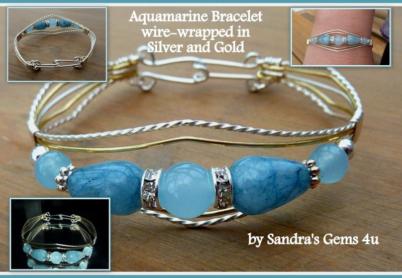 Aquamarine Bracelet with Rhinestones, wire-wrapped in Silver and Gold, March birthstone