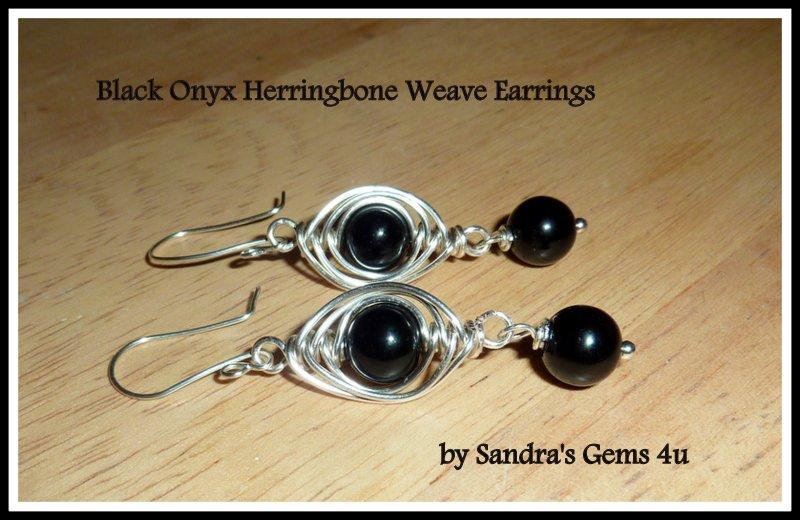 Black Onyx Earrings, Herringbone Weave, Silver