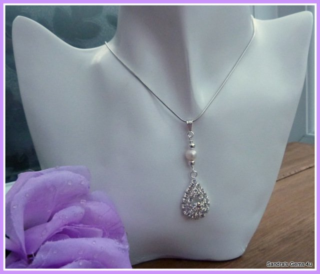 Bridal Pendant with Rhinestones and Freshwater Pearls, matching Earrings available